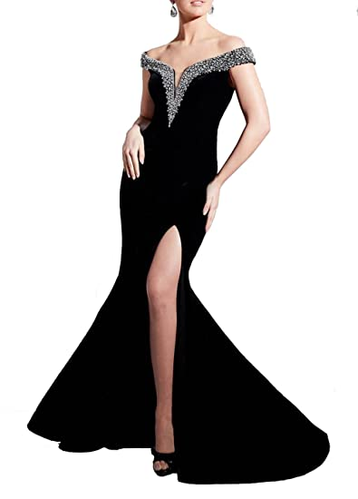 Womens Deep V-Neck Sexy Evening Prom Dress Black Off Shoulder Beading Party Mermaid Gowns
