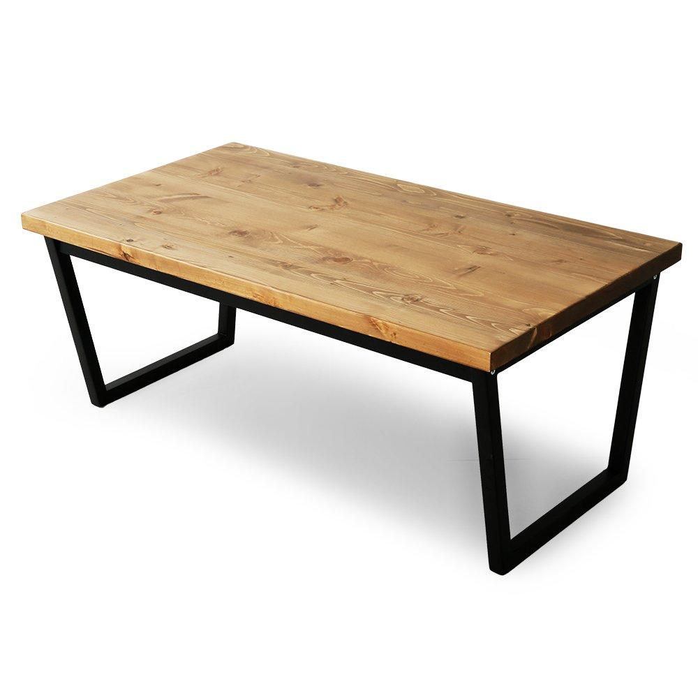 LOWYA (ロウヤ) テーブル オール天然木 パイン無垢材 木製 台形脚 センターテーブル デスク 幅110cm ライトブラウン