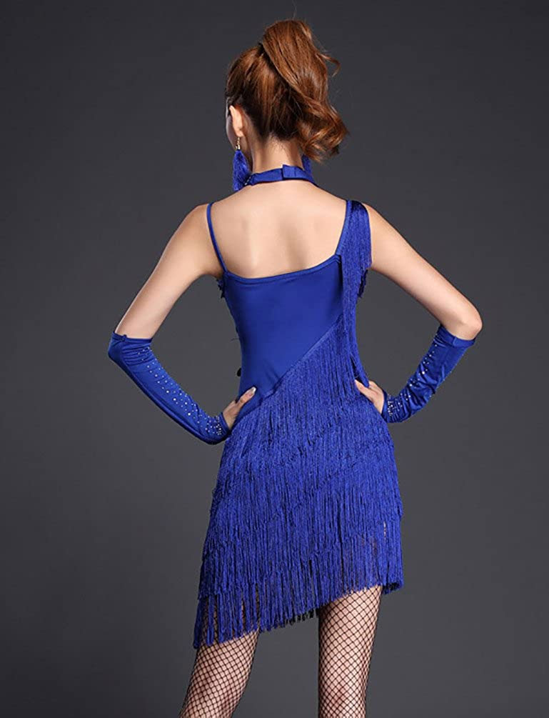 NiSeng Femme Jupe Danse Latine comp/étition Performance Robe Sequin Houppe Robe