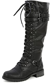f00fe04226d Amazon.com  Womens 1 Inch Heels Black Knee High Boots Steampunk ...
