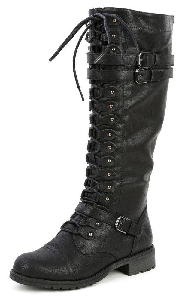 Wild Diva Womens Timberly-65 Lace Up Knee High Boots B015JW5N96 5.5 B(M) US|Black