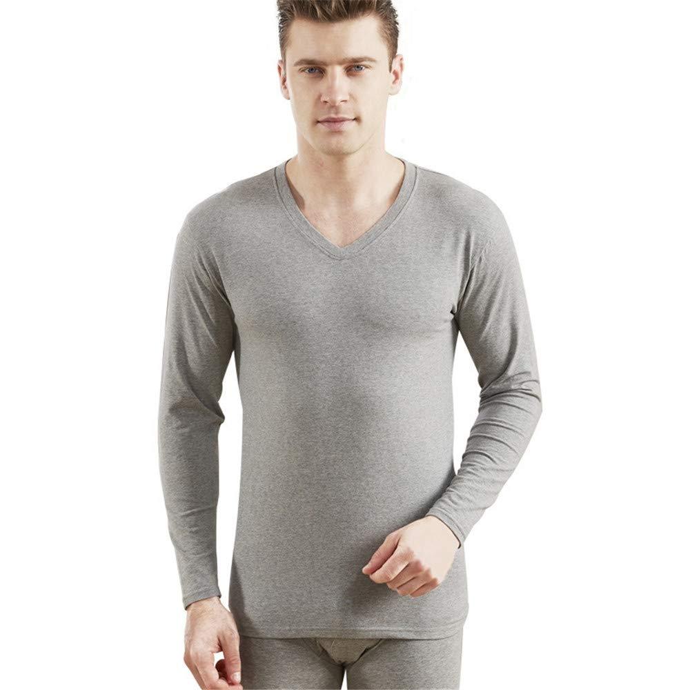 AiNaMei Herren Baumwoll V-Ausschnitt Stretch Nahtlose Herbst Kleidung Lange Hosen Unterwäsche Set