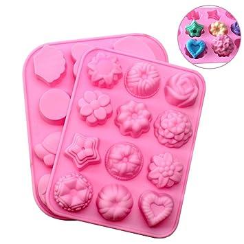 JPSOR 2 Piezas Moldes de Silicona Para Magdalenas Con Formas de Flores y Animales Moldes de Muffins Bombones Reposteria Moldes Para Fondant Mini Tarta ...