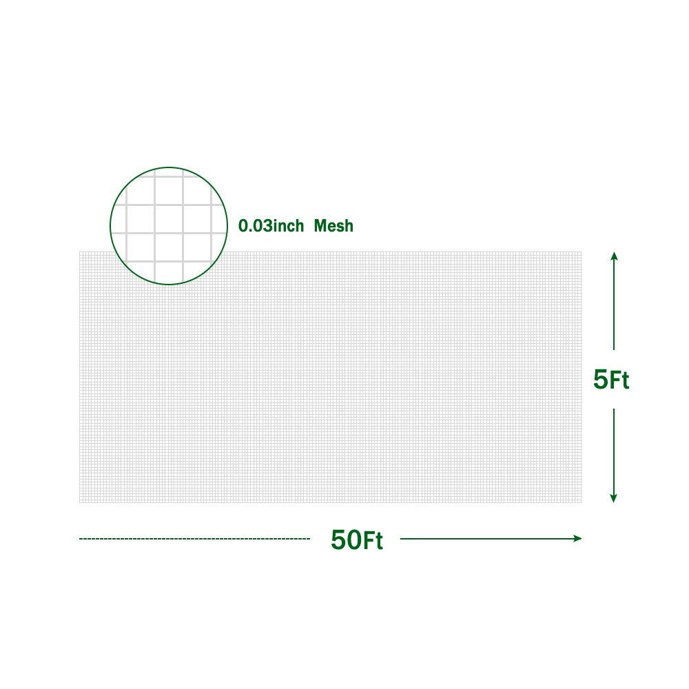 Agfabric 5'x50' Bug Net Insect Bird Netting, Garden Netting Protect Plants Fruits Flowers Against Bugs, Birds & Squirrels