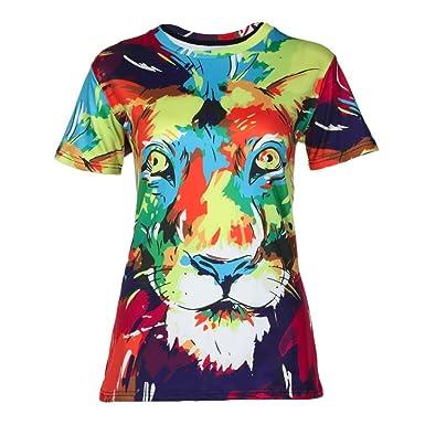 c5103183d91809 Gusspower Frauen Freizeit T-Shirt Modisch 3D Farbiger Löwe Drucken Tees  Shirt Kurzarm O-