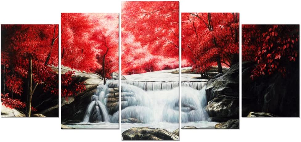 Wieco Art Red Forest Waterfalls 5 Piece Canvas Prints Wall Art for Living Bedroom Room Home Decorations Modern Gallery Wrapped Giclee Grace Landscape Tree Oil Paintings Reproduction Pictures Artwork