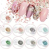 POYING 1g Nail Art Fashion Marble Mixed Colorful Glitter Paillette 3D Beauty Flakes Nail Decorations Summer Powder Dust CH465