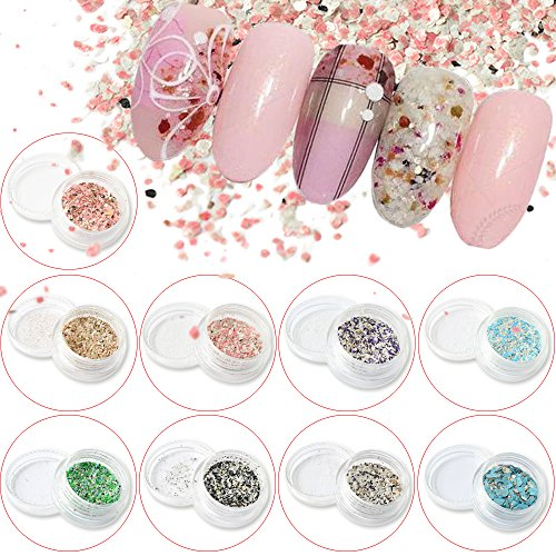 POYING 1g Nail Art Fashion Marble Mixed Colorful Glitter Paillette 3D Beauty Flakes Nail Decorations Summer Powder Dust CH465 by POYING