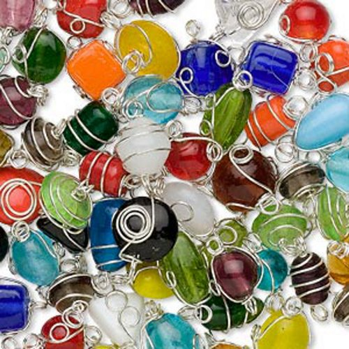 Silver-plated wire-wrapped glass multicolored handmade mixed shape beads 7x4mm-14x11mm -Sold per pkg of 15 beads