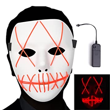Amazon.com: Ansee Scary Mask Halloween Cosplay Led Costume Mask El Wire Light Up Mask for Festival Parties (Red): Toys & Games