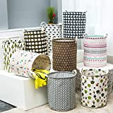 Kriva Kids Canvas Material Laundry Basket Hamper Clothes Storage Baskets/Home Barrel Bags, 43 x 35 cm (Assorted Color and Design)
