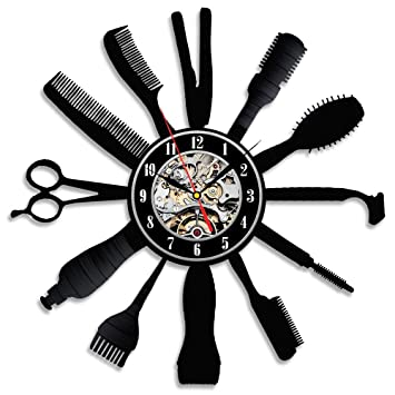 Idea de Regalo Creativo Para Peluquería Hair Salon vinilo pared Reloj: Amazon.es: Deportes y aire libre