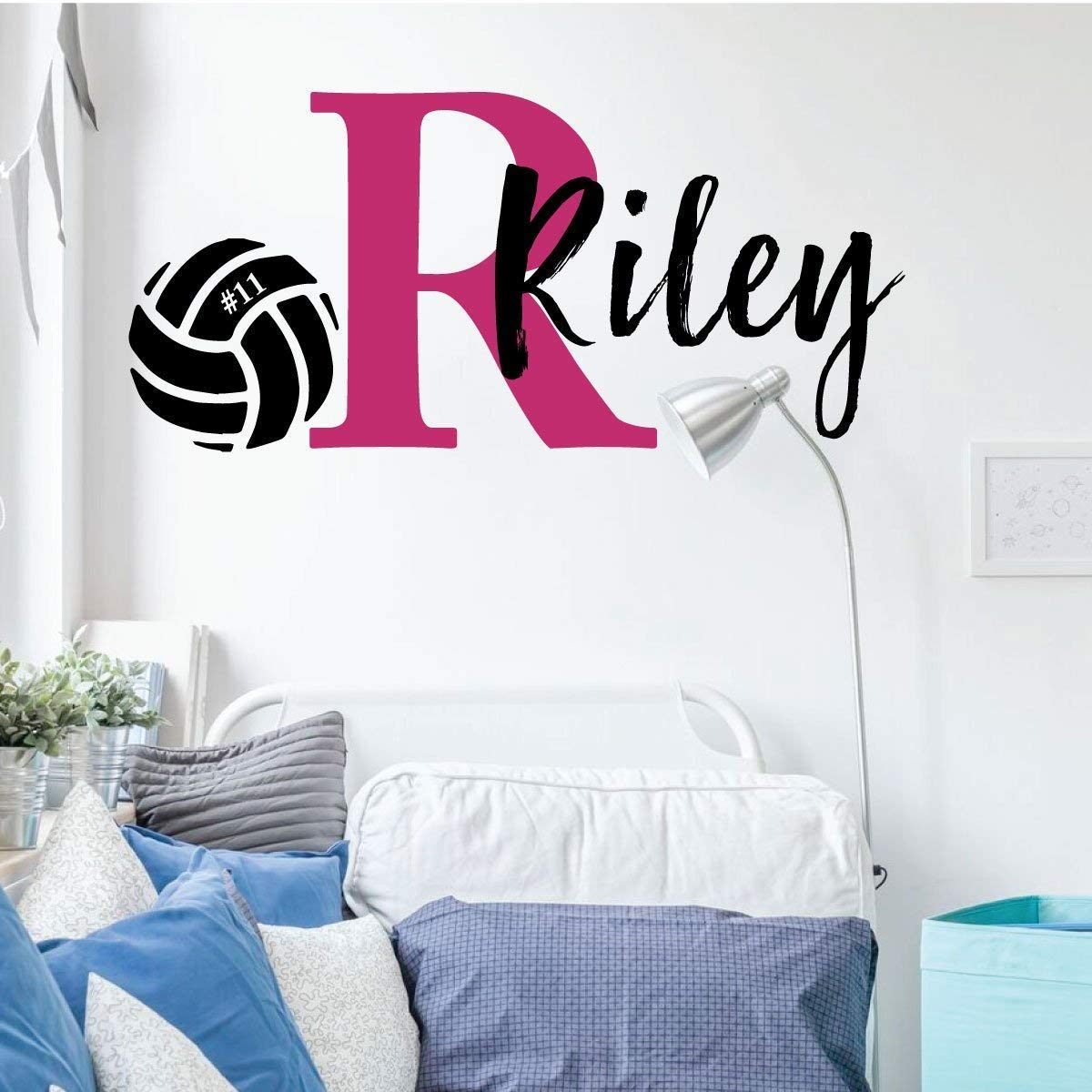 Volleyball Wall Decal | Personalized Monogram Vinyl Decor for Bedroom or Playroom | Sports Team Decoration | Black, White, Red, Blue, Green, Purple, Pink, Yellow, Other Colors | Small, Large Sizes
