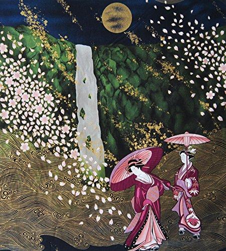 Geisha in Ethereal Landscape: Burgundy Asian Japanese Panel (Gold Kona Bay)