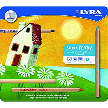 LYRA Super Ferby Unlacquered Triangular Giant Colored Pencils, 6.25 Millimeter Lead Core, Set of 18 Pencils, Assorted Colors (3711180)