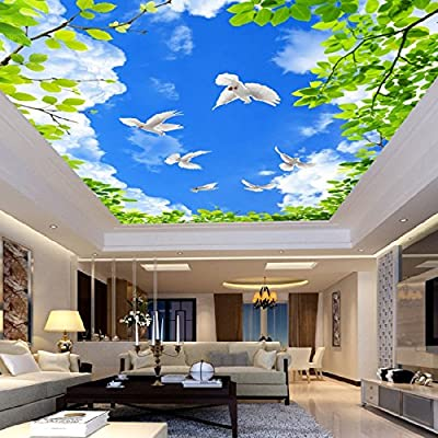 XLi-You 3D Leaves Sky Blue Skies With White Clouds Theme False Ceiling In The Living Room Bedroom Wallpaper Murals.