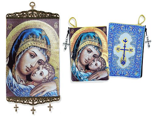 Cloth Tapestry Rosary Zipper Close Pouch Keepsake Holder Religious Gift Sweet Kissing Madonna & Child Icon Banner Wall Hanging Decor by Alexandra Int'l