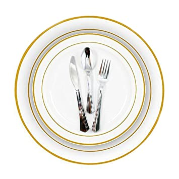 Gold Rim Plastic Plates 240 Bulk Dinner Wedding Disposable Silverware Party!  sc 1 st  Amazon.com : wedding plastic plates and silverware - Pezcame.Com