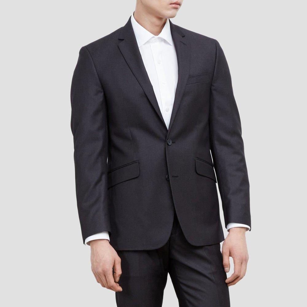 Kenneth Cole REACTION Men's Slim Fit Suit Separate (Blazer, Pant, and Vest), Charcoal Pindot Blazer, 44 Regular