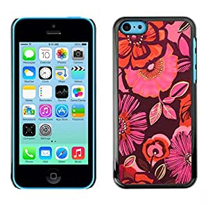 Planetar? ( Flowers Orange Maroon Pink Floral ) Apple iPhone 5C Hard Printing Protective Cover Protector Sleeve Case