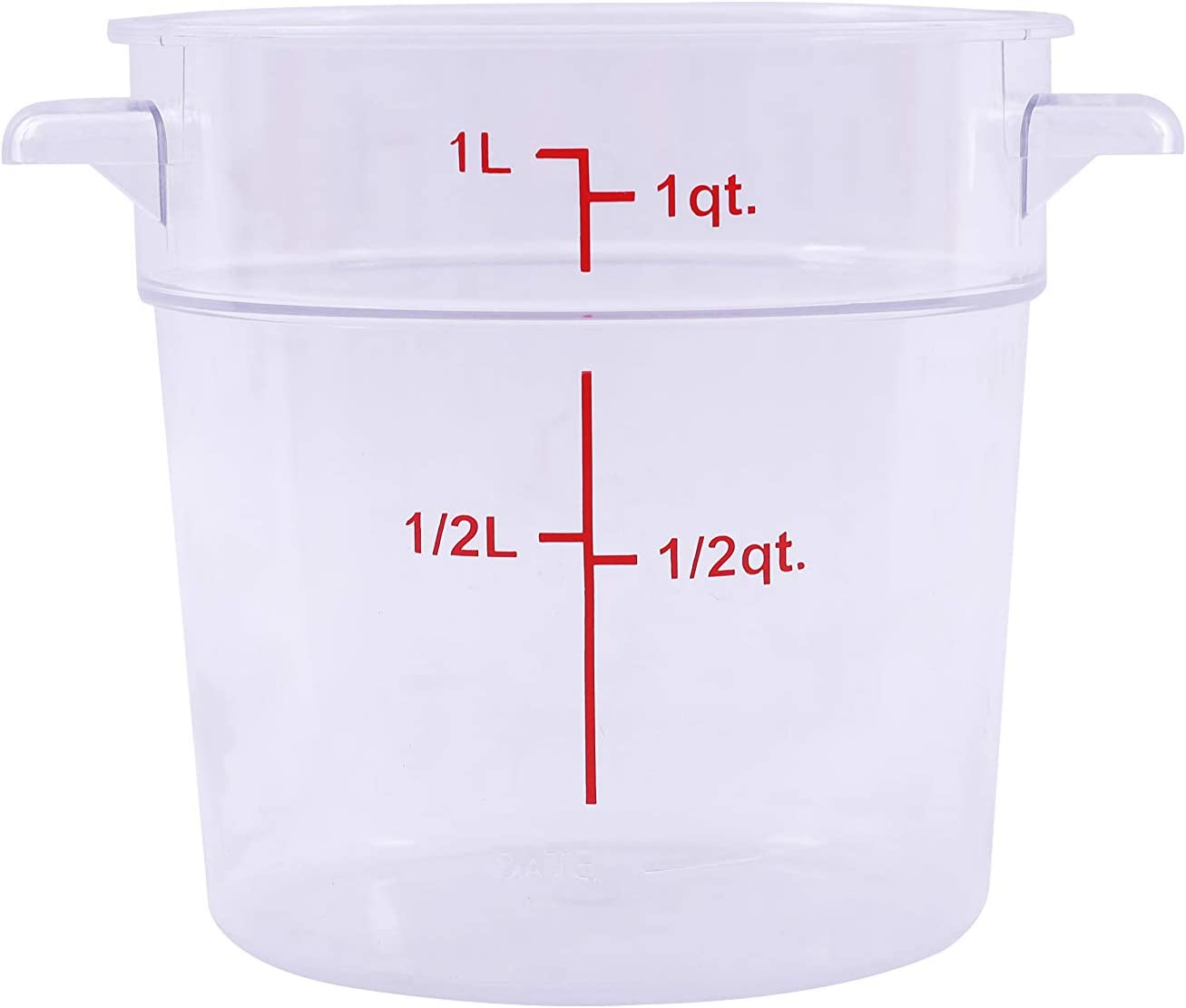 Caspian 1 Qt. Clear Round Polycarbonate Food Storage Container with Red Gradations Plastic Space Saving for Home or Commercial Kitchen, Sous Vide, Food Prep and Storage, 1 Piece