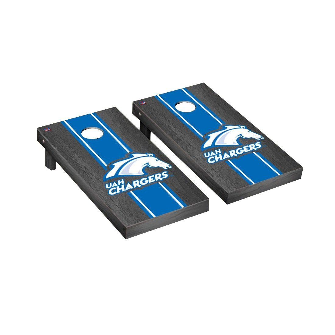 Victory Tailgate University of Alabama in Huntsville Chargers Regulation Cornhole Game Set Onyx Stained Stripe Version