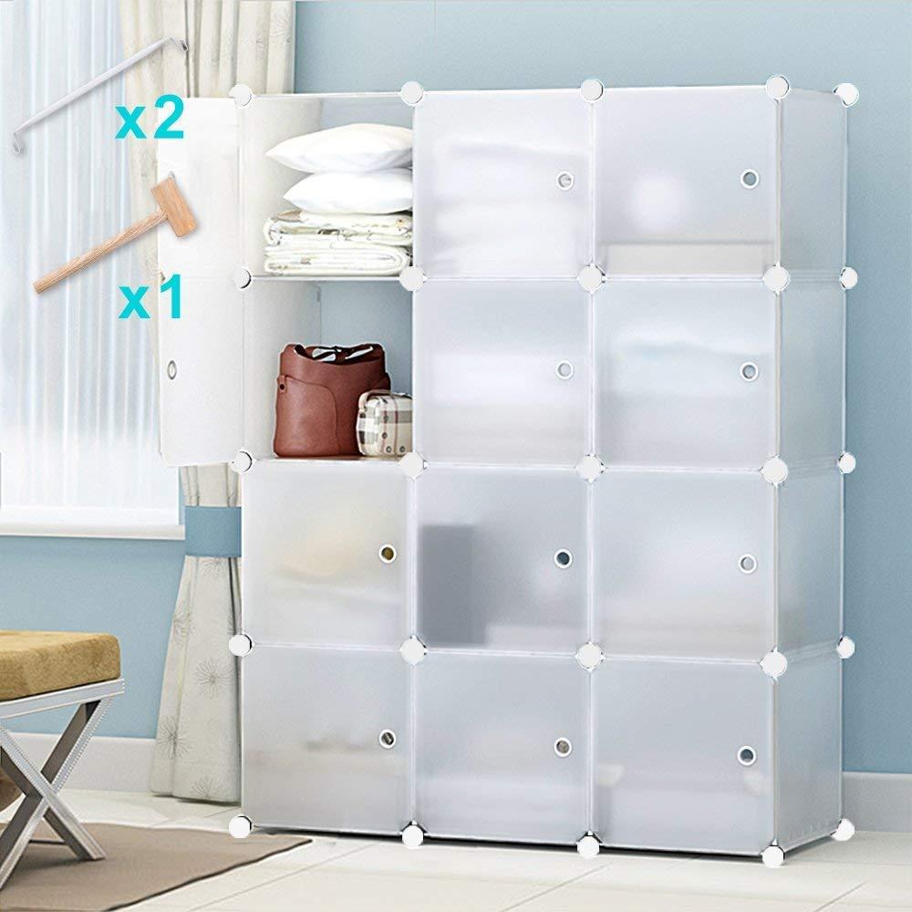 Honey Home Storage Cube Closet Organizers,Portable Cube Closet Wardrobes for Bedroom, DIY Modular Cabinet Shelving Storage Organizer Plastic Closet with Easy closed Doors- 12 Cubes