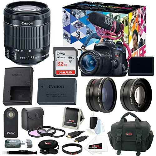 Canon EOS Rebel T6i DSLR Video Creator Kit w/18-55mm, Rode VIDEOMIC GO, 32GB SD Card, Supreme Accessory Bundle Supreme Accessory Package