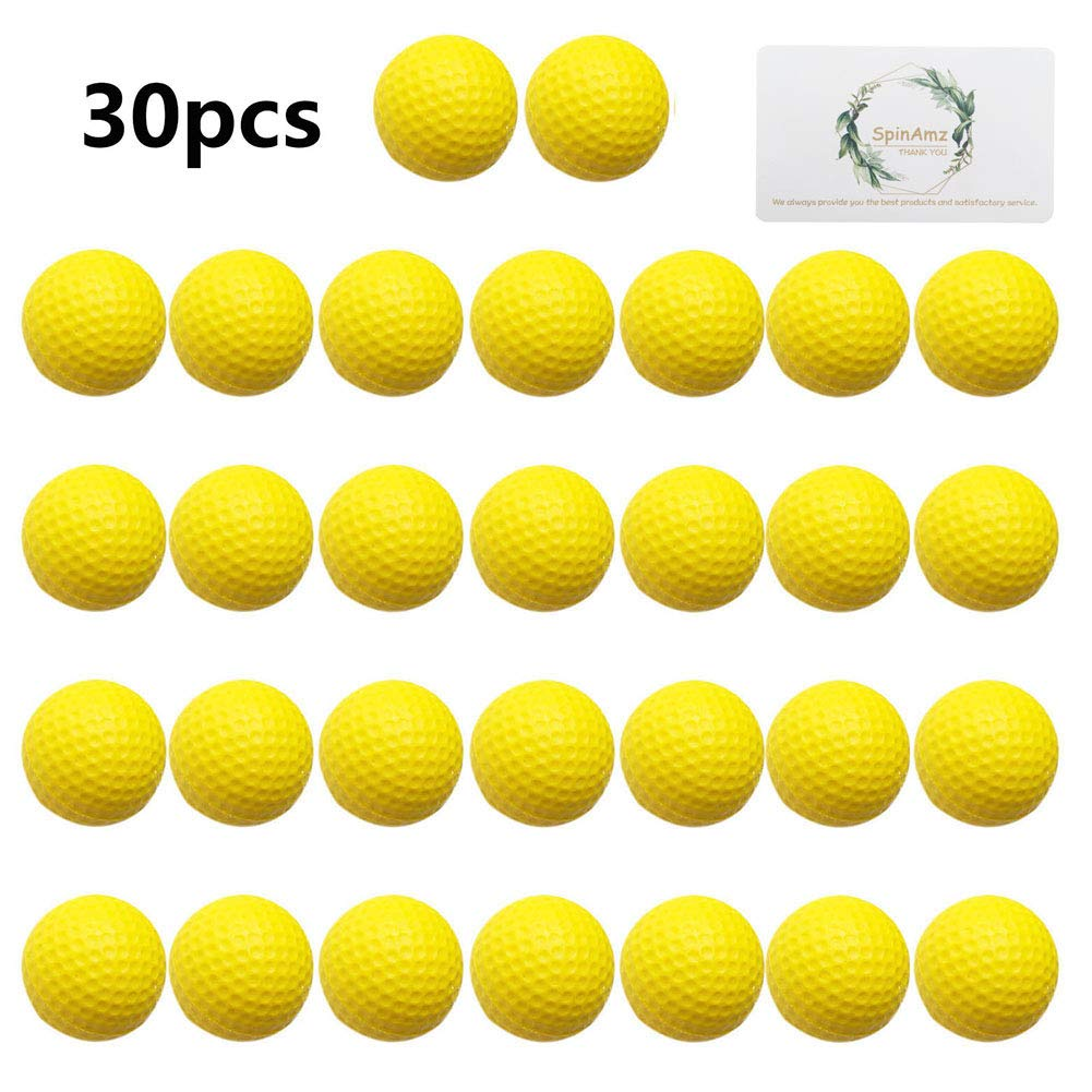 Practice Golf Balls,Smartlife15 Foam Sponge Soft Elastic Golf Balls, Indoor Outdoor Golf Training Aid Balls (Yellow,30pcs) by Smartlife15