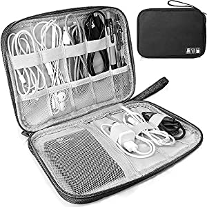Electronics Accessories Organizer Bag, Travel Cable Organiser Bag, Universal Carry Travel Gadget Bag for USB Cable Drive, SD Card,Charger Hard Disk (Black)