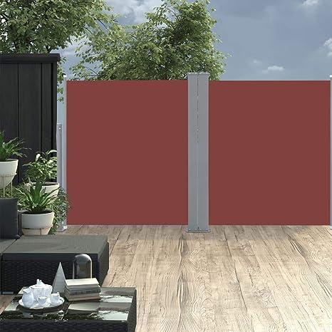 vidaXL Seitenmarkise Ausziehbar 140x500cm Braun Sichtschutz Terrasse Balkon