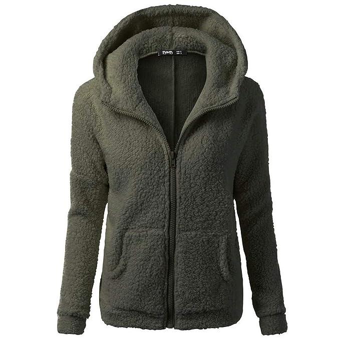 a2c1e08c09cd6 CUTUDE Cappotto Donna Invernale Lungo Lana Caldo Elegante Giacca Maglione  Giubbotto Cappuccio Giacche Coat  Amazon.it  Abbigliamento