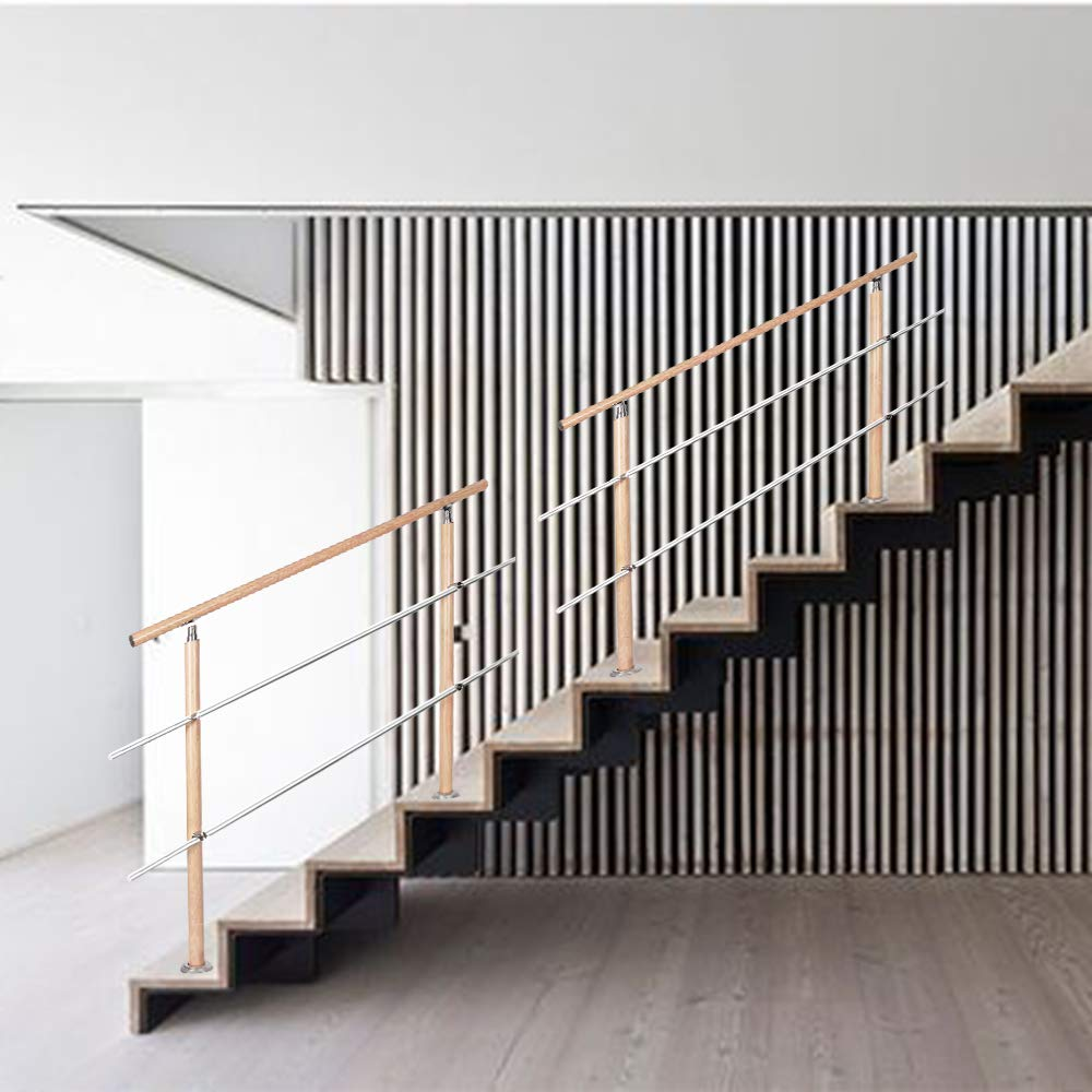 Holzmuster 160m,2 Querstreben HENGMEI 160cm Treppengel/änder Aluminium und Edelstahl-Handlauf Gel/änder Gel/änderst/äben Terrassengel/änder Bausatz Treppen