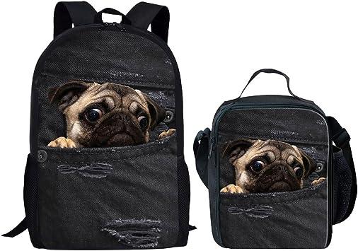 Pug Bag Boys Girls Kids Cute Nursery Bag School Bag Lunch Picnic Dog Shoulder 3D
