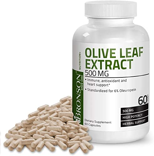 Bronson Olive Leaf Extract 500 mg Immune, Antioxidant Heart Health Support, 60 Vegetarian Capsules