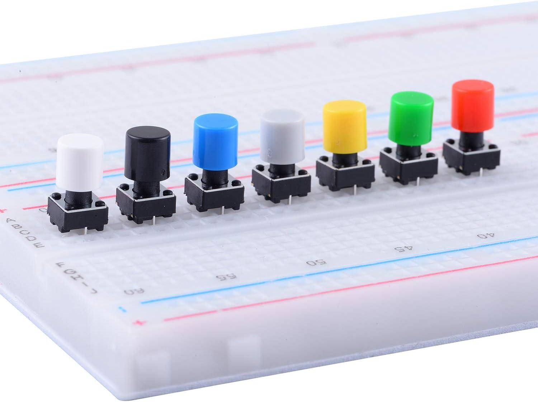 Cylewet CLW1115 Lot de 70 interrupteurs tactiles avec Capuchons de 7 Couleurs pour Planche /à Pain Arduino 6 x 6 x 8 mm