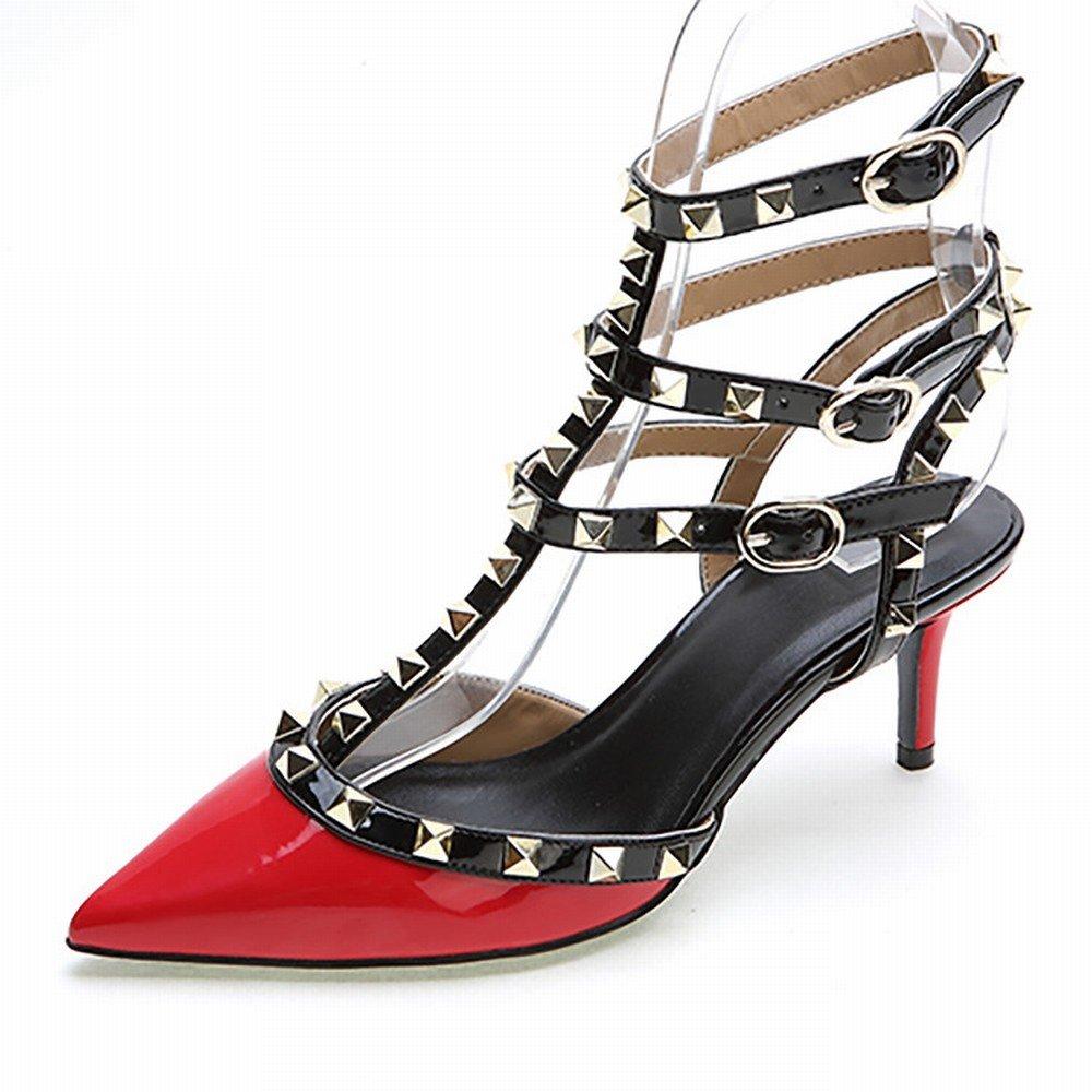 schuheES Woherren Schuhe Western Spitz Feste Farbe 3 3 3 mit Einem Niet Lackleder Schuhe Damenmode Hochhackigen Schuhen c14dde
