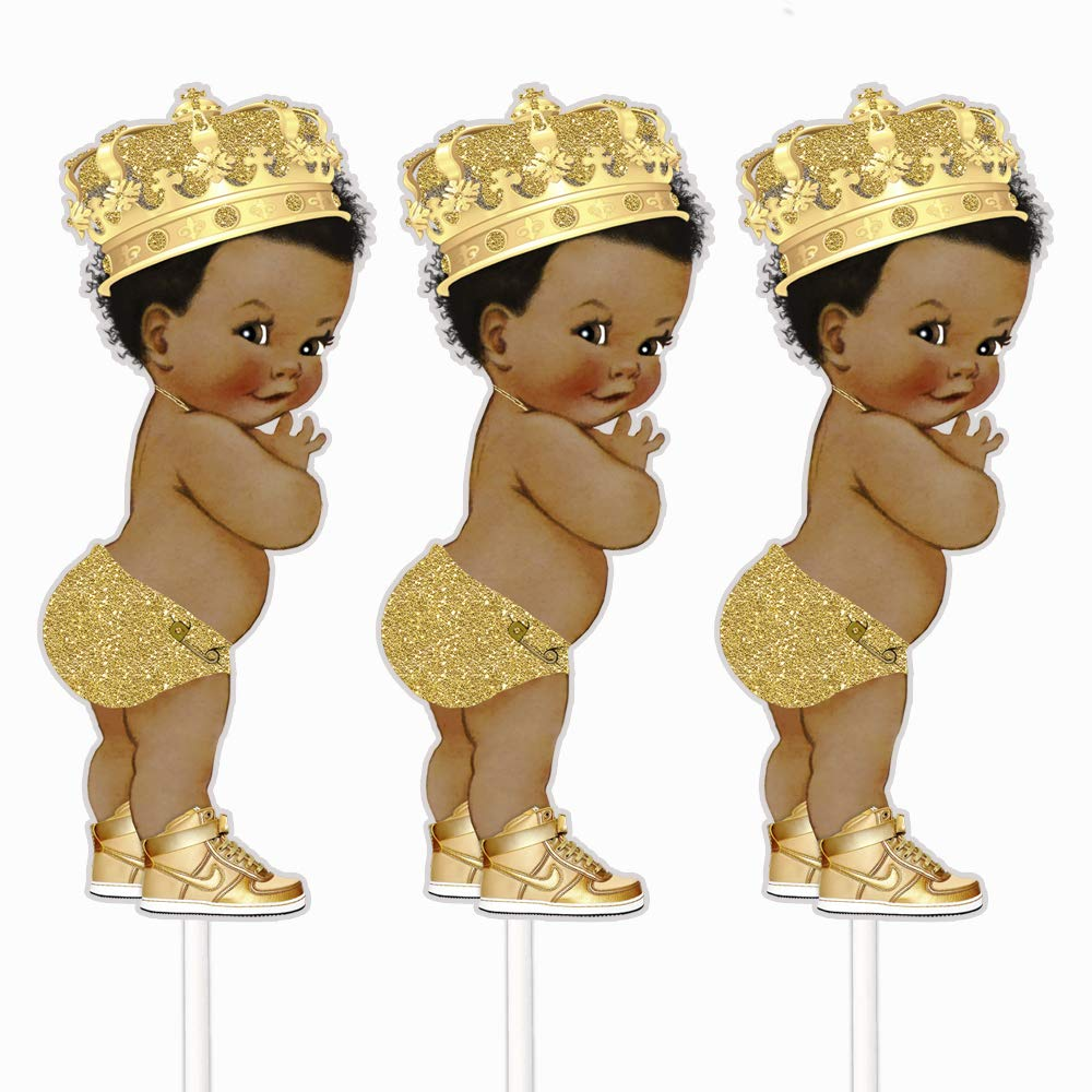 Gold Little Prince Table Decoration Centerpieces, Set of 3 African American Prince Royal Birthday Cake Centerpieces by ArtPaperWonders