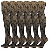 Womens Fishnet Pantyhose, 6 Pack, Comfortable Durable Nylon Stockings, Patterned Ladies Mesh Net (Black Fishnet w/Bows, One Size (5'-5'9/90-165lbs))