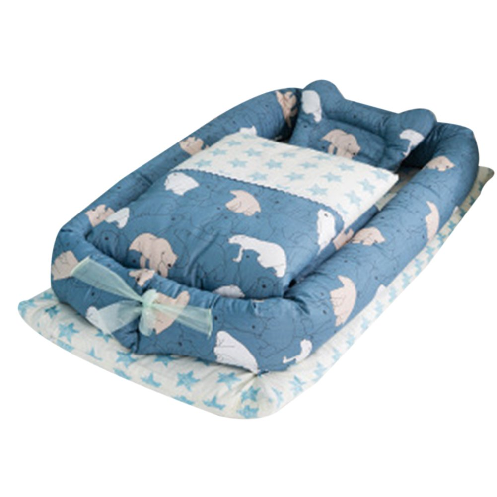Detachable Baby Isolated Bed Newborn Baby Sleeping Artifact Collapsible Bionic Bed with a Quilt 0-24 Months Baby Cot with Quilt