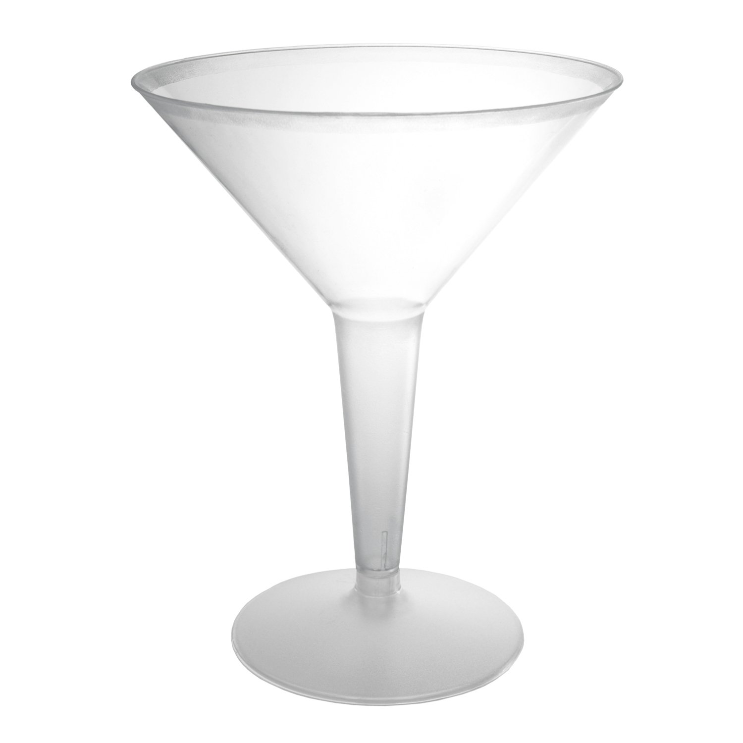 Party Essentials N81021 Hard Plastic 2-Piece Martini Glass, 8-Ounce Capacity, Clear (Case of 120)
