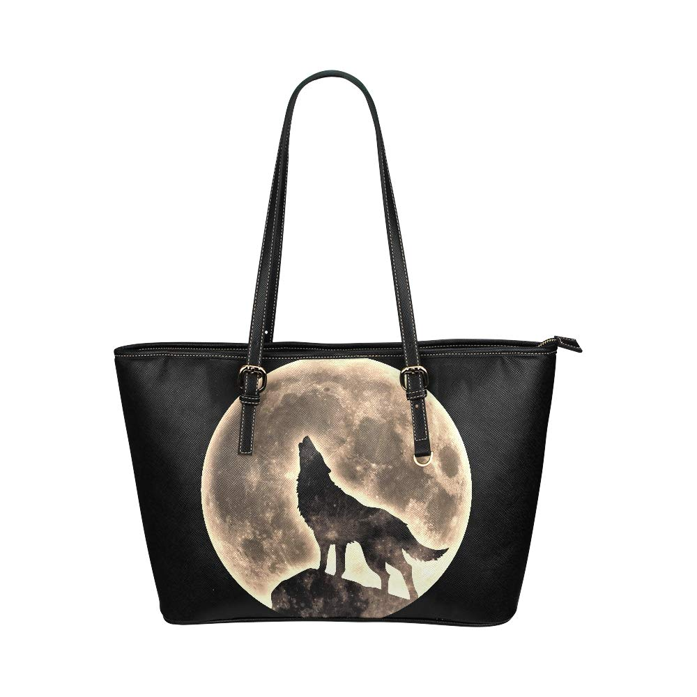 Wild Howling Scared Moon Night Wolf Large Soft Leather Portable Top Handle Hand Totes Bags Causal Handbags With Zipper Shoulder Shopping Purse Luggage Organizer For Lady Girls Womens Work