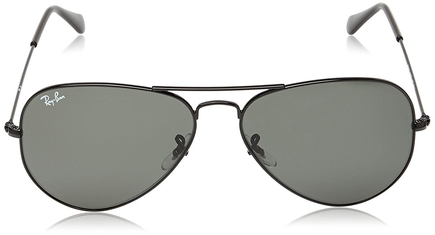d2f7609568 Amazon.com  Ray-Ban RB 3025 L2823 58 Unisex Aviator Large Black Metal Green  G-15 Lens Sunglass  Shoes