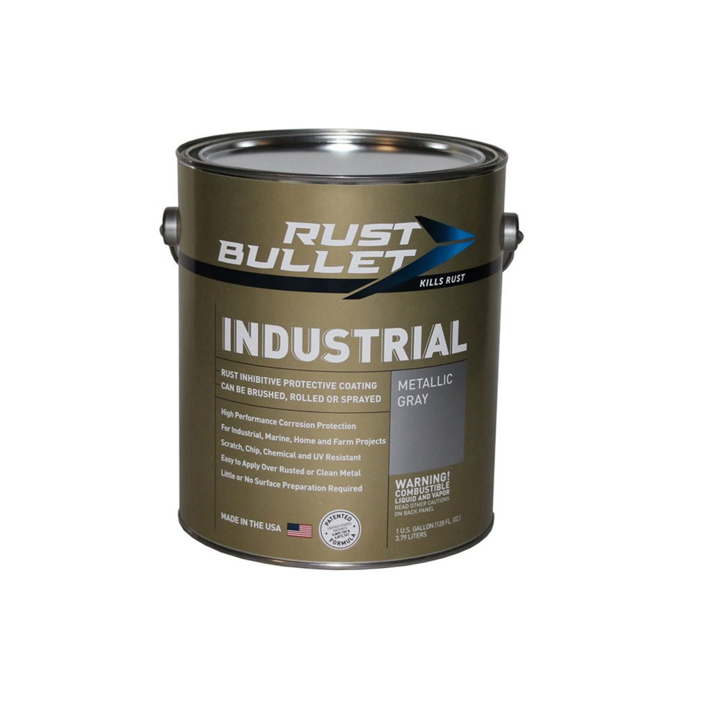 Rust Bullet RB14 Standard Industrial Strength Rust Inhibitor Paint, 1 Gallon Metal Can, Metallic Gray