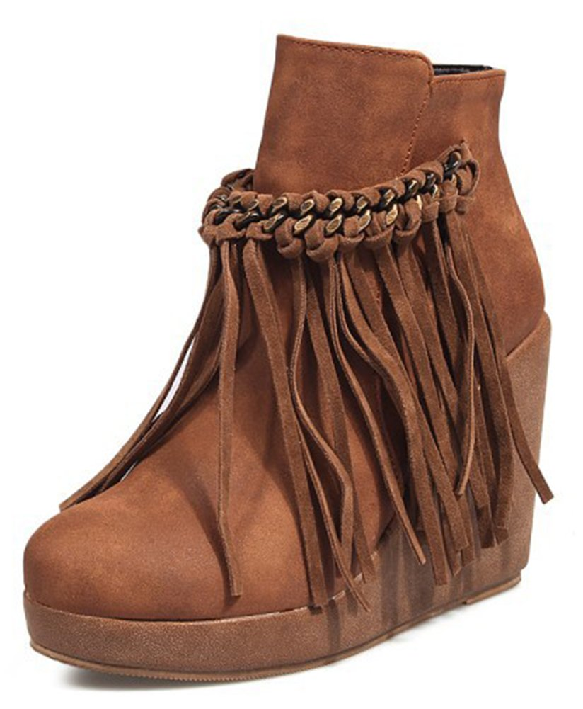 Aisun Women's Tasseled Dressy Round Toe Platform Booties Inside Zip up High Heel Wedge Ankle Boots with Fringe (Brown, 8.5 B(M) US)