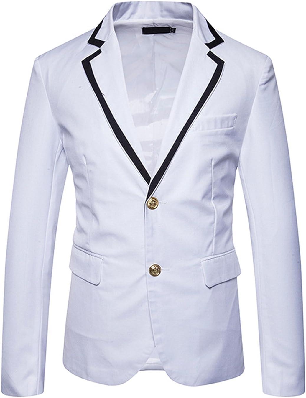 JASSYOY Mens Peak Lapel Collar Slim Fit Two Button Blazer Coats Jackets