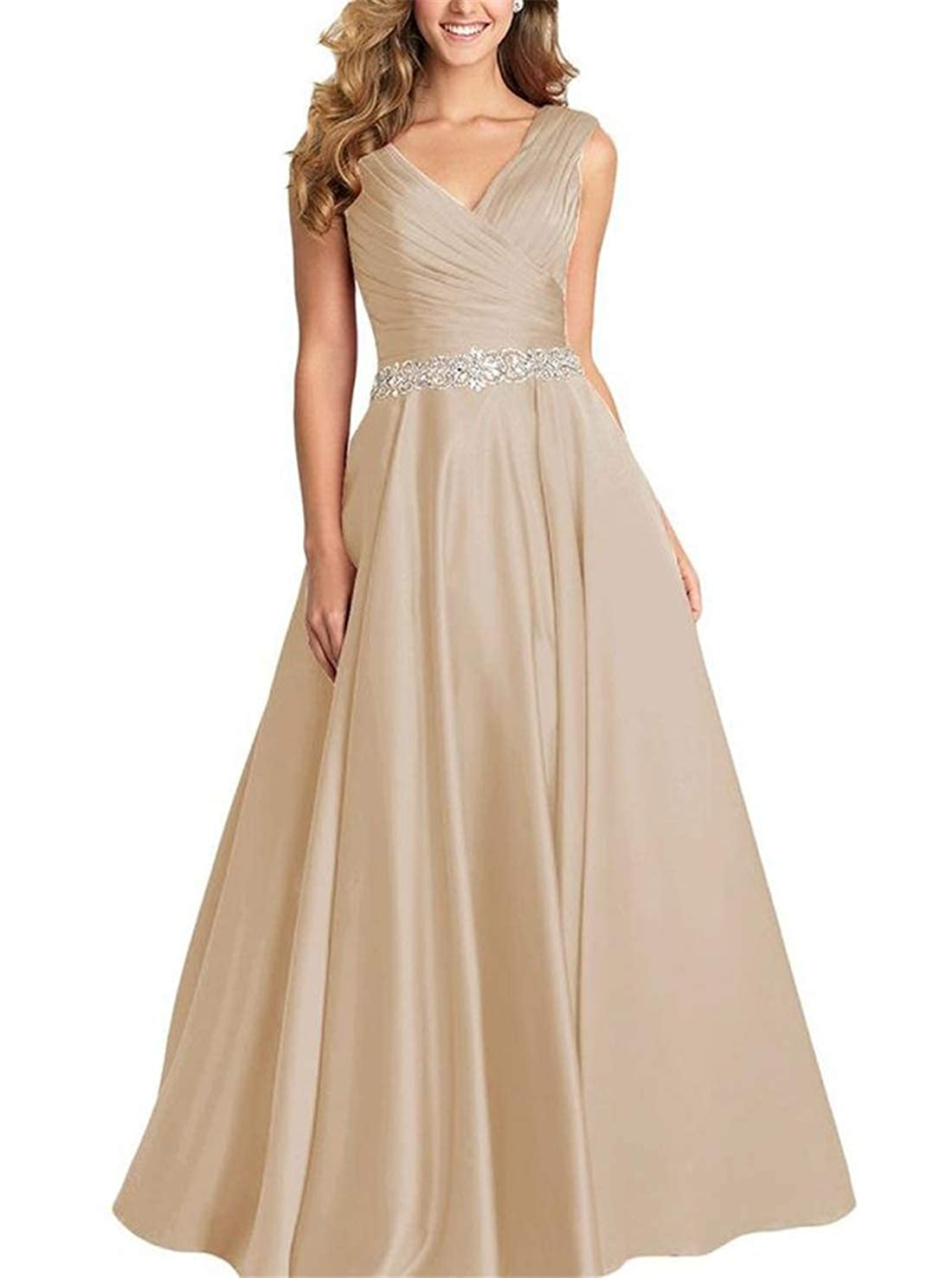 Champagne Stylefun Womens Long Beaded Prom Dress A Line VNeck Party Evening Gowns XIN004