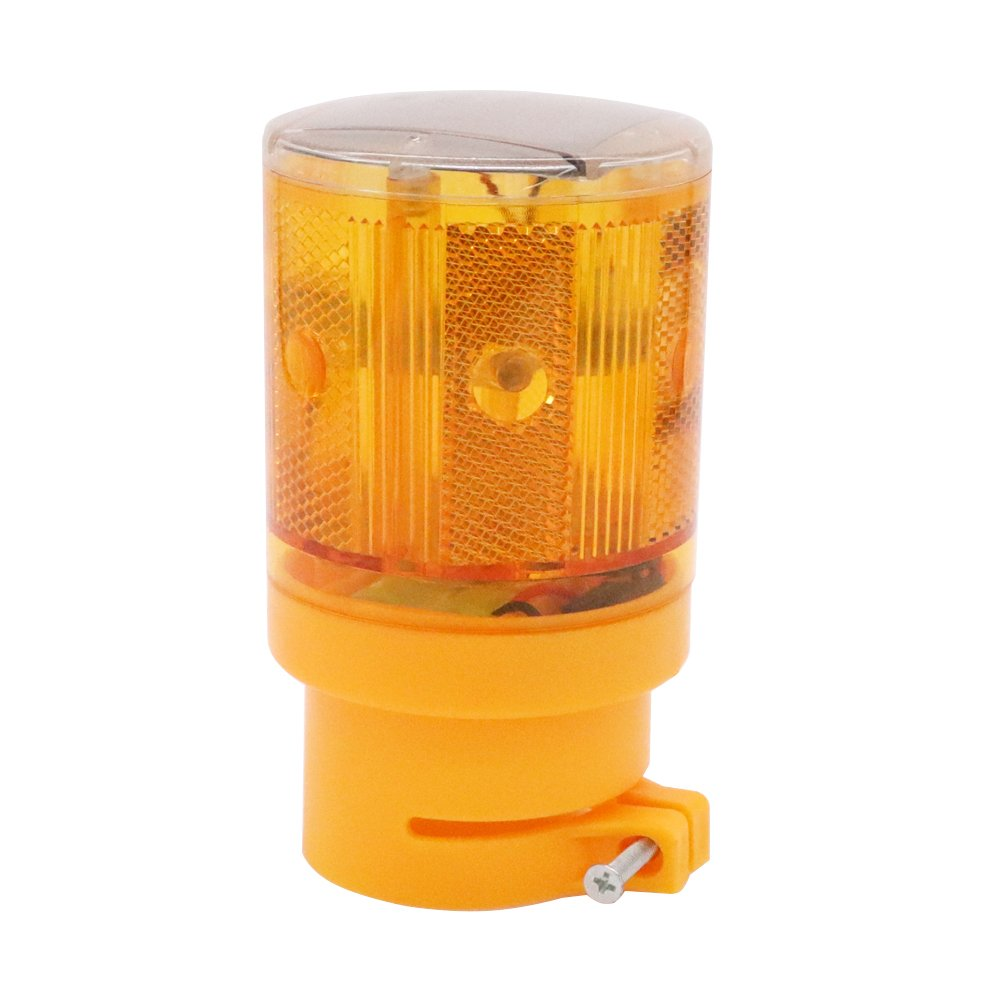 Aolyty LED Solar Strobe Warning Light Flashing Construction Safety Road Barricade Traffic Automatic Vehicle Signal Beacon Lamp Waterproof IP65 Automatically Turn on (Yellow)