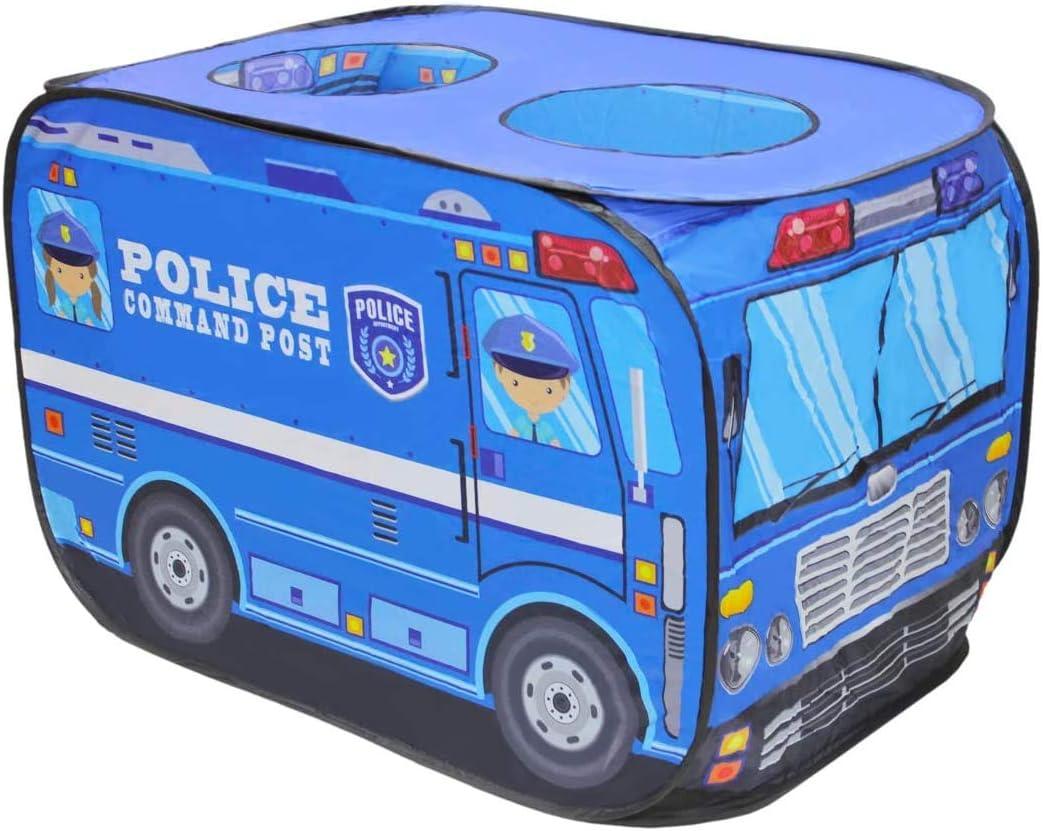 deAO Casita de Juegos Infantil Carpa para Niños y Niñas Tienda con Diseño Pop Up Auto Armable Montaje Rápido Actividades Recreativas al Interior y Exterior Área de Recreo (Furgoneta de Policía)