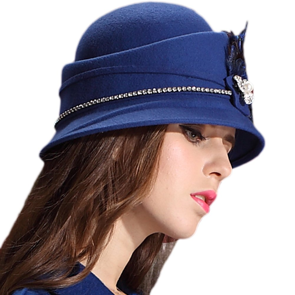 48351fcc71050 June s Young Women Hats for Winter Handmade Women Felt Hats Caps Luxury  Feather Winter Hat Blue at Amazon Women s Clothing store
